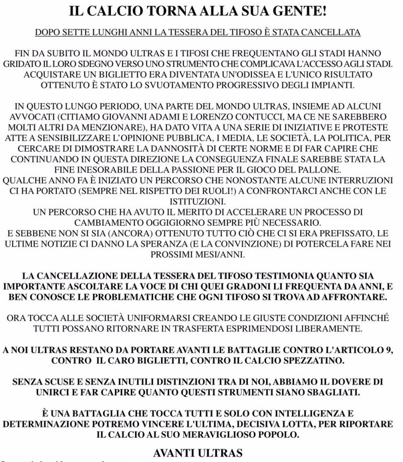 Comunicato FINE TESSERA 8-8-17